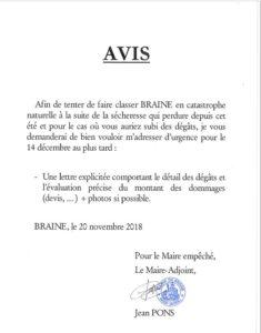 AVIS POUR TENTER DE CLASSER BRAINE EN CATASTROPHE NATURELLE SUITE A LA SECHERESSE