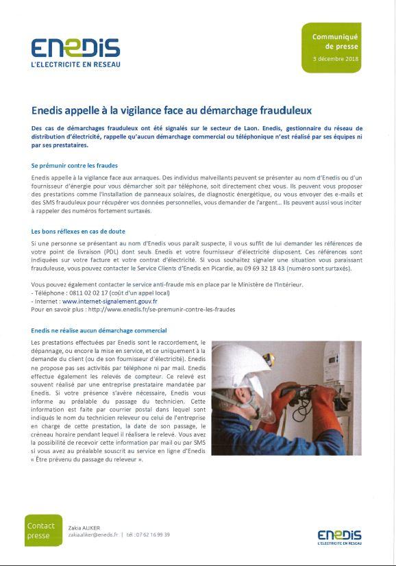 ENEDIS : Démarchage frauduleux – Communiqué de presse du 3 décembre 2018