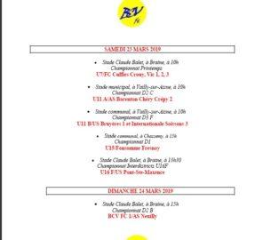 BCV FOOTBALL CLUB - SAMEDI 23 et DIMANCHE 24 MARS