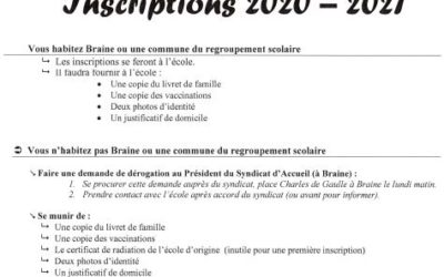 Inscriptions école primaire 2020 – 2021
