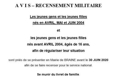 Recensement militaire – Jeunes nés en avril, mai et juin 2004