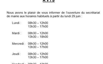 Reprise des horaires d'ouverture de la mairie