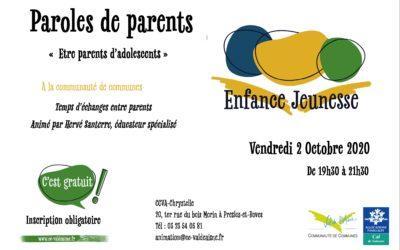 Paroles de parents – 2 octobre