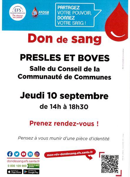 Don du sang jeudi 10 septembre 2020