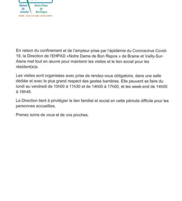 EHPAD Notre Dame de Bon repos – Covid-19