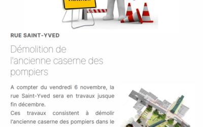 Travaux rue Saint-Yved