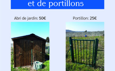 VENTE D'ABRIS DE JARDIN ET DE PORTILLONS