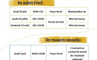 Actions du Relais Assistants Maternels – Juin, juillet et août 2021