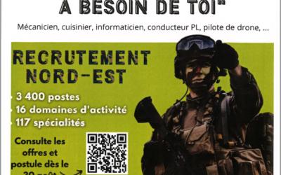 """Recrutement """"L'armée de terre"""" Salon Virtuel – 21-22-23 Septembre"""